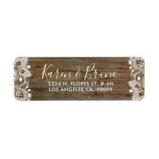 Etiqueta Madeira rústica do falso & laço floral branco
