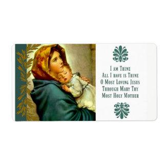 Etiqueta Mãe abençoada que guardara a criança Jesus