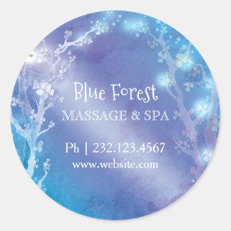 Etiqueta mágica azul da etiqueta do negócio das adesivo