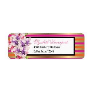 Etiqueta Magnólia e listras roxas e cor-de-rosa da aguarela