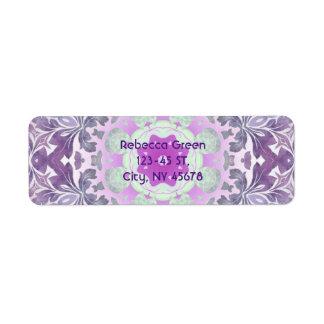 Etiqueta Mandala boémia chique do roxo do lilac de Boho