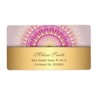 Etiqueta Mandala cor-de-rosa do ouro