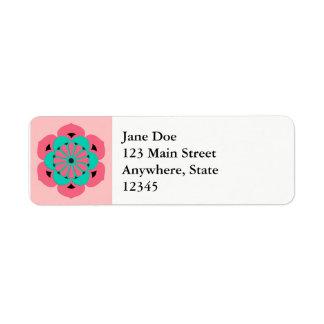 Etiqueta Mandala da flor de Lotus, rosa coral e turquesa