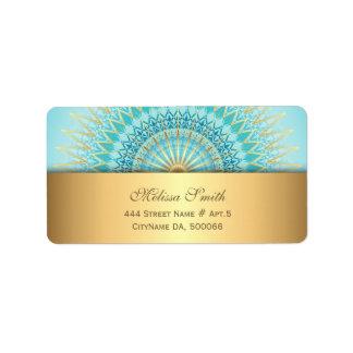 Etiqueta Mandala de Boho do ouro de turquesa