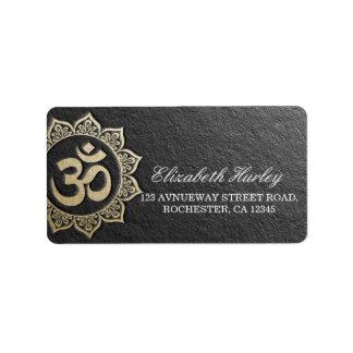 Etiqueta Mandala de OM do preto & do ouro do instrutor da