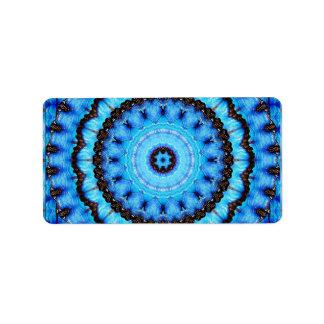 Etiqueta Mandala do azul da borboleta