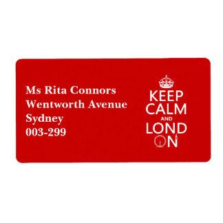 Etiqueta Mantenha a calma e o Lond em (Londres)