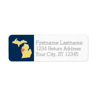 Etiqueta Mapa do estado do Michigan com coração e nome