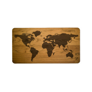 Etiqueta Mapa do mundo Textured Woodgrain