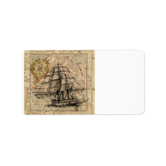Etiqueta Mapa e navio do vintage