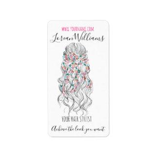 Etiqueta Marcagem com ferro quente floral do penteado da