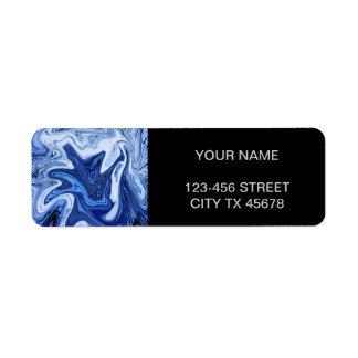 Etiqueta Mármore branco azul do aqua dos redemoinhos da
