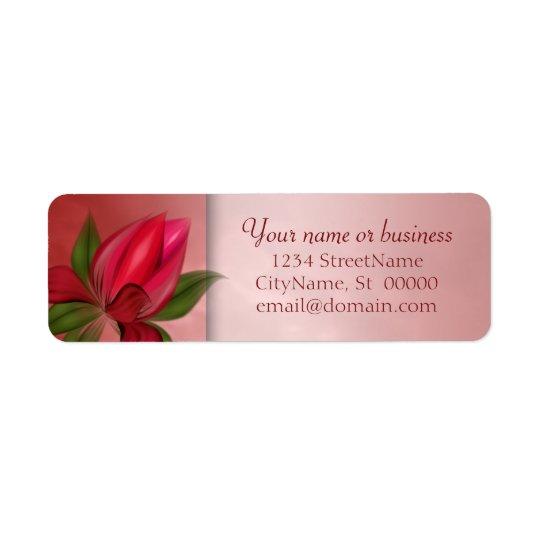 Etiqueta Mármore floral vermelho e cor-de-rosa