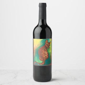 etiqueta marrom do vinho da aguarela do gato