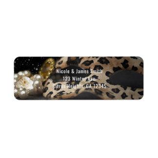 Etiqueta Máscara do mascarada do leopardo & convite de
