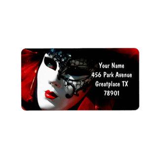 Etiqueta Máscara vermelha tradicional colorida do carnaval