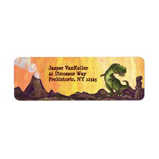 Etiqueta Material da escrita de Rex do tiranossauro