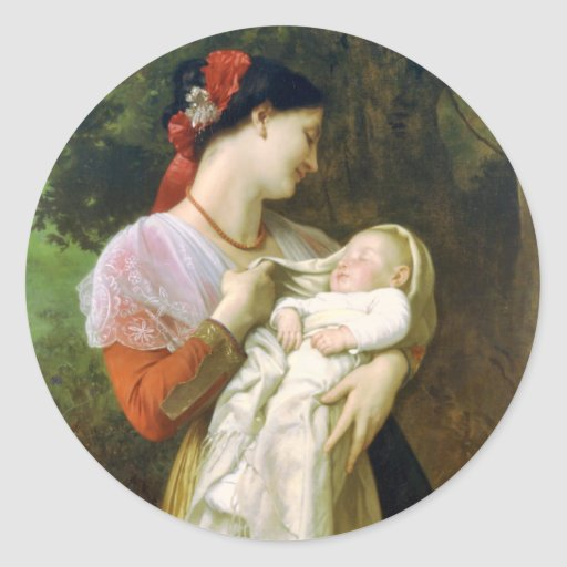 Etiqueta maternal das belas artes do amor adesivos redondos