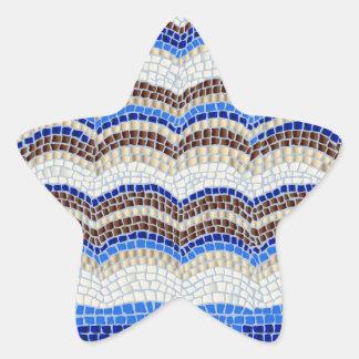 Etiqueta Matte da estrela do mosaico azul