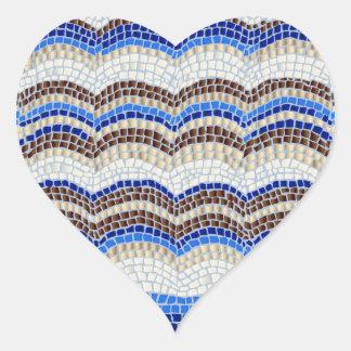 Etiqueta Matte do coração do mosaico azul