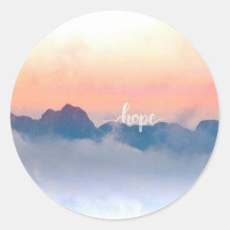 Etiqueta matte redonda da esperança