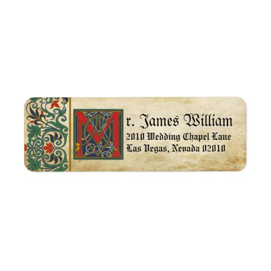 Etiqueta medieval do casamento do manuscrito etiqueta endereço de retorno