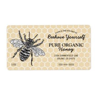 Etiqueta Mel da abelha do favo de mel do vintage