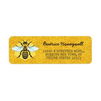 Etiqueta Mel do zangão da abelha e do favo de mel bonito