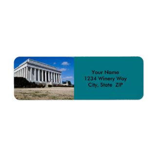 Etiqueta Memorial de Lincoln no Washington DC