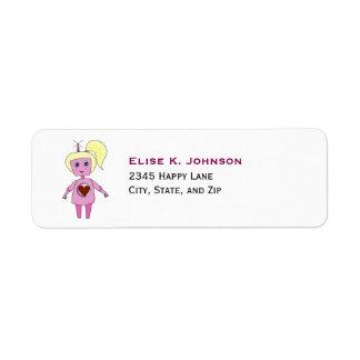 Etiqueta Menina cor-de-rosa bonito do robô da ficção