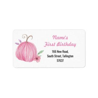 Etiqueta Menina do aniversário do rosa da abóbora das