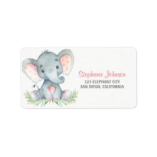 Etiqueta Menina do elefante da aguarela