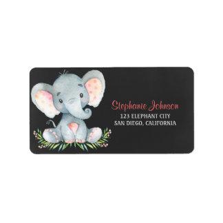 Etiqueta Menina do elefante da aguarela do quadro