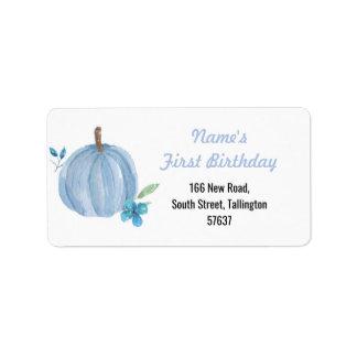 Etiqueta Menino azul do aniversário da abóbora das
