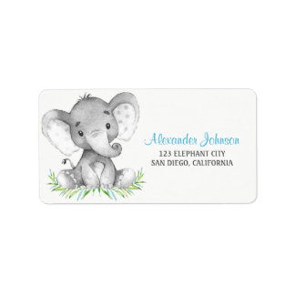 Etiqueta Menino do elefante da aguarela