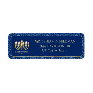 Etiqueta Menorah dourado decorativo