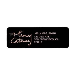 Etiqueta Meowy endereço do remetente preto e cor-de-rosa de