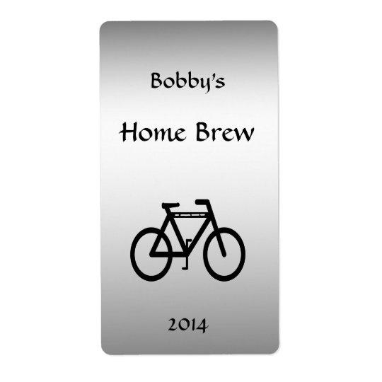 Etiqueta metálica de prata da cerveja da bicicleta
