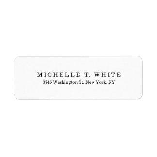 Etiqueta Minimalista branco preto clássico liso