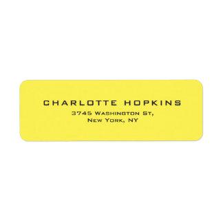 Etiqueta Minimalista moderno amarelo liso elegante