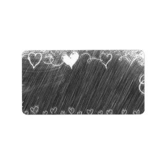 Etiqueta Modelo - fundo do quadro com corações