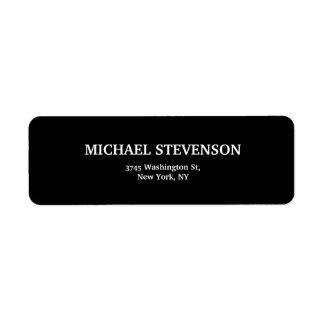 Etiqueta Moderno liso minimalista original preto