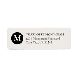 Etiqueta Monograma preto e de creme
