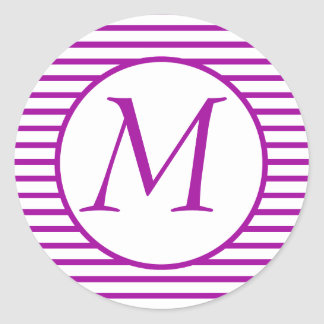 Etiqueta Monogrammed listrada roxa Adesivo Em Formato Redondo