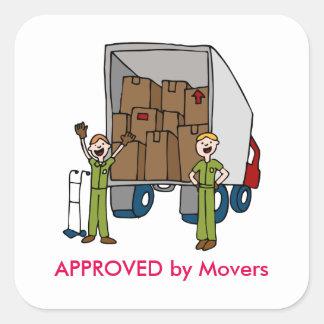 Etiqueta movente dos homens do caminhão adesivo quadrado