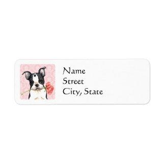 Etiqueta Namorados Boston cor-de-rosa Terrier
