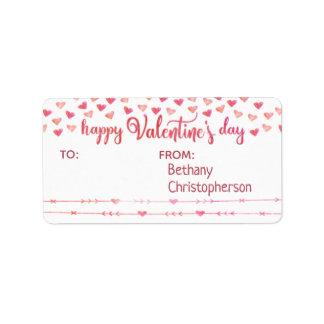 Etiqueta Namorados cor-de-rosa & alaranjados da aguarela do
