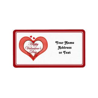 Etiqueta Namorados vermelhos frisados do coração