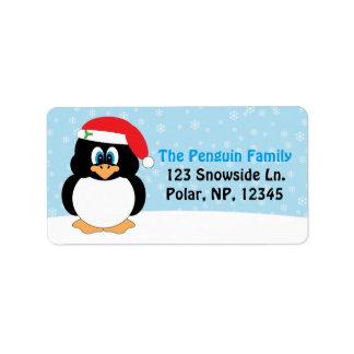 Etiqueta Natal alegre do pinguim