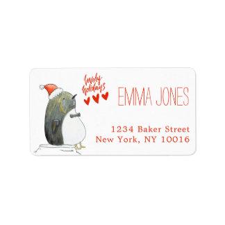 Etiqueta Natal bonito bonito do pinguim dos feriados  